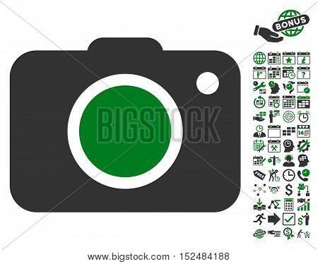 Photo Camera icon with bonus calendar and time management graphic icons. Vector illustration style is flat iconic symbols, green and gray colors, white background.