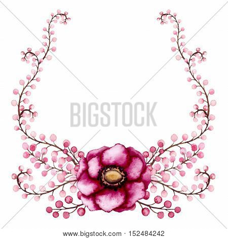 Wreath with Watercolor Magenta Flower and Little Berries