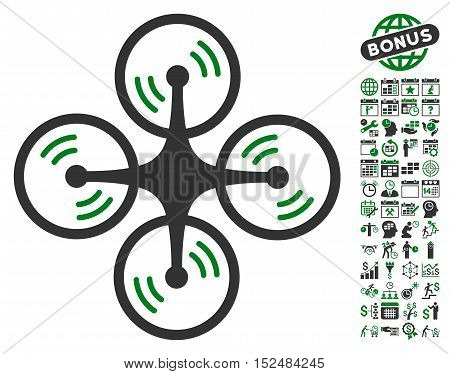Quadcopter Screw Rotation pictograph with bonus calendar and time service pictograms. Vector illustration style is flat iconic symbols, green and gray colors, white background.