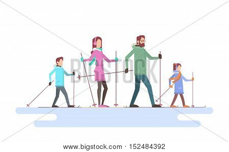 Big Family Skiing Winter Holiday Vacation Snow Sport Flat Vector Illustration