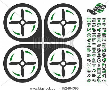 Quadrotor Screws Rotation icon with bonus calendar and time management symbols. Vector illustration style is flat iconic symbols, green and gray colors, white background.
