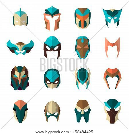 Set of super hero masks in flat style. Big collection cartoon superhero. Vector eps10