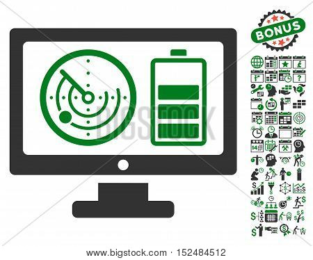 Radar Battery Control Monitor icon with bonus calendar and time management icon set. Vector illustration style is flat iconic symbols, green and gray colors, white background.