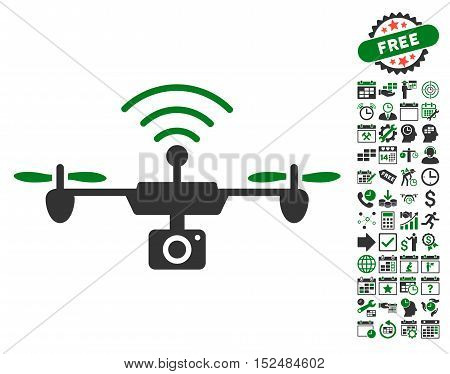 Radio Camera Airdrone pictograph with bonus calendar and time service clip art. Vector illustration style is flat iconic symbols, green and gray colors, white background.