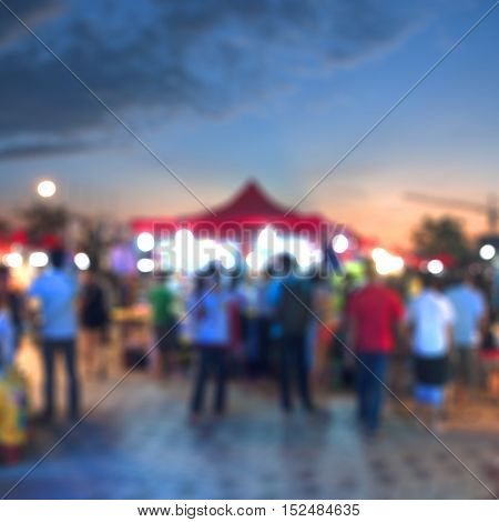 Blurred night background of asian local market