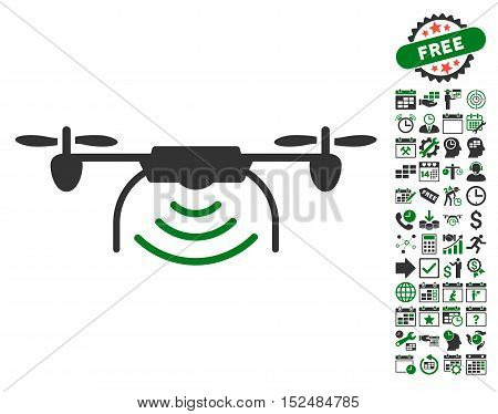 Radio Transmitter Airdrone icon with bonus calendar and time management symbols. Vector illustration style is flat iconic symbols, green and gray colors, white background.