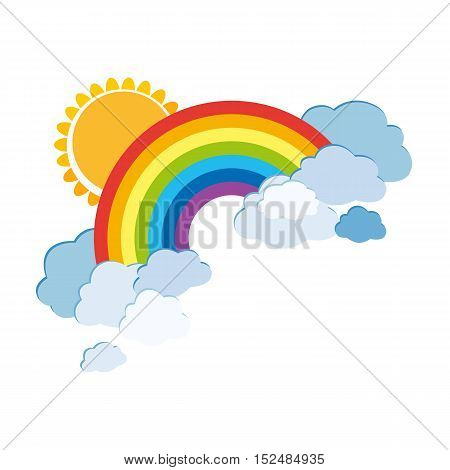 Colored rainbows with clouds and sun. Cartoon illustration isolated on white background. Vector EPS10