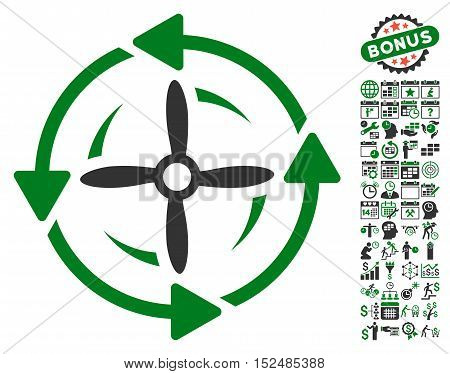Screw Rotation pictograph with bonus calendar and time management pictures. Vector illustration style is flat iconic symbols, green and gray colors, white background.