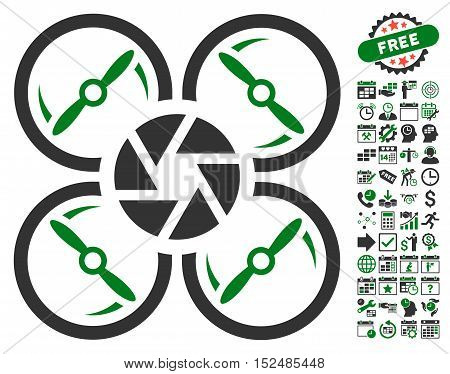 Shutter Drone icon with bonus calendar and time service graphic icons. Vector illustration style is flat iconic symbols, green and gray colors, white background.