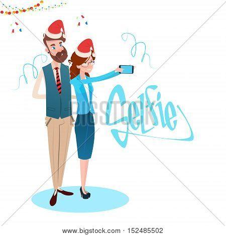 Business Woman And Man Taking Selfie Photo On Smart Phone Wear Santa Hat New Year Celebration Flat Vector Illustration