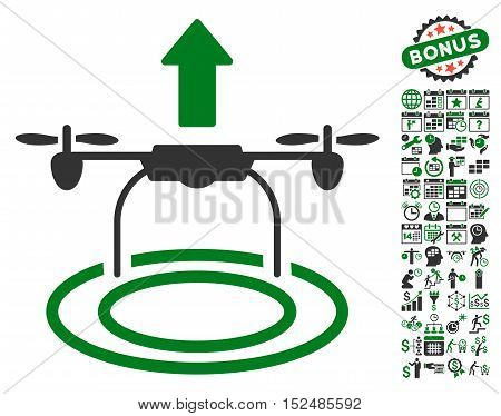 Start Drone pictograph with bonus calendar and time management pictograph collection. Vector illustration style is flat iconic symbols, green and gray colors, white background.
