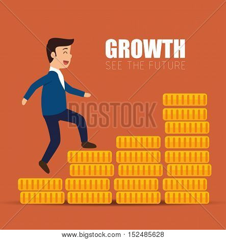 concept growth success businessman walk stairs of coins vector illustration eps 10