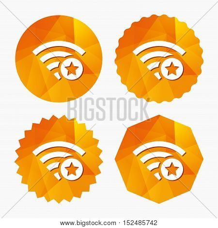Wifi star sign. Favorite Wi-fi symbol. Wireless Network icon. Wifi zone. Triangular low poly buttons with flat icon. Vector