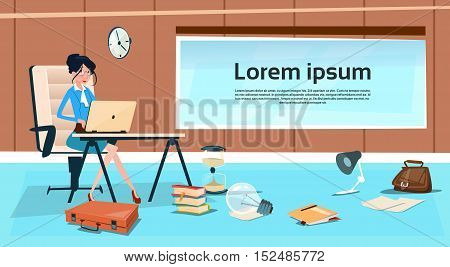Business Woman Sitting Desk Working Laptop Computer Businesswoman Typing Flat Vector Illustration