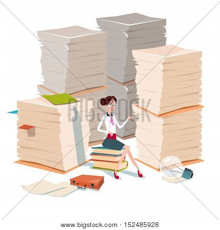 Business Woman Sit On Books Stacked Paper Document Paperwork Flat Vector Illustration