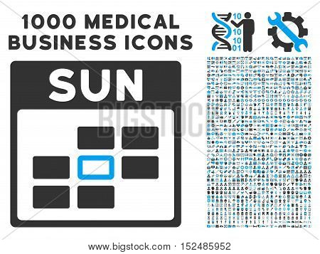 Blue And Gray Sunday Calendar Grid vector icon with 1000 medical business pictograms. Set style is flat bicolor symbols, blue and gray colors, white background.