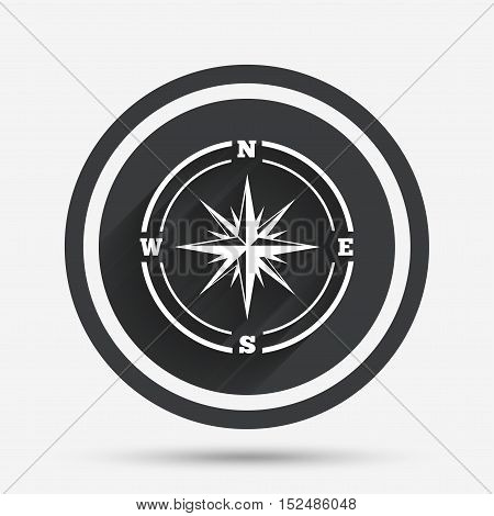 Compass sign icon. Windrose navigation symbol. Circle flat button with shadow and border. Vector