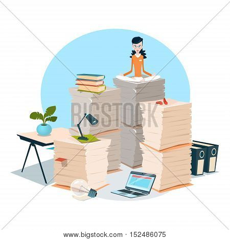 Business Woman Sit On Stacked Paper Document Paperwork Flat Vector Illustration