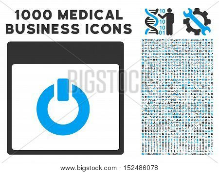 Blue And Gray Switch on Calendar Page vector icon with 1000 medical business pictograms. Set style is flat bicolor symbols, blue and gray colors, white background.