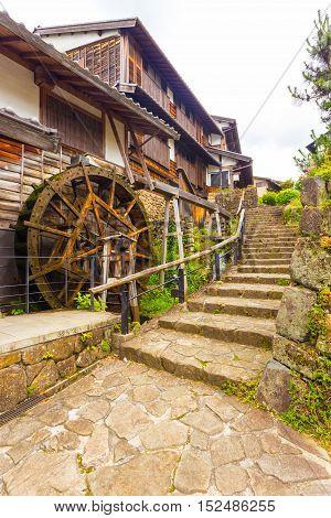 Turning Waterwheel Stone Steps Magome Nakasendo V