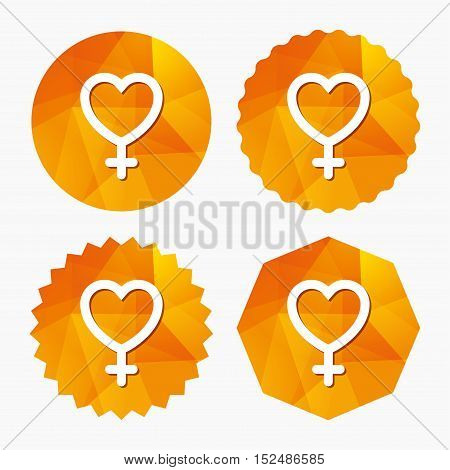 Female sign icon. Woman sex heart button. Triangular low poly buttons with flat icon. Vector