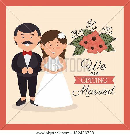 groom and bride cute wedding card design, vector illustration  graphic