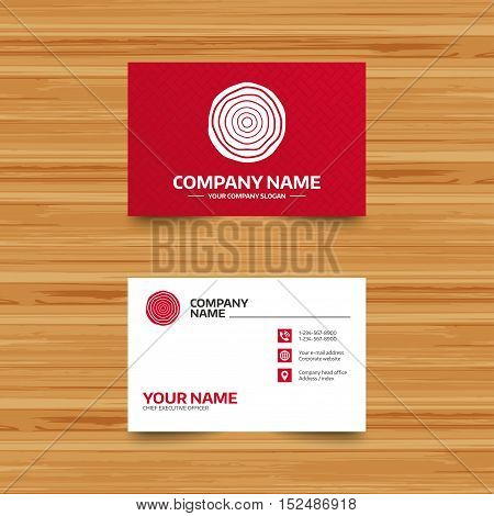 Business card template. Wood sign icon. Tree growth rings. Tree trunk cross-section. Phone, globe and pointer icons. Visiting card design. Vector