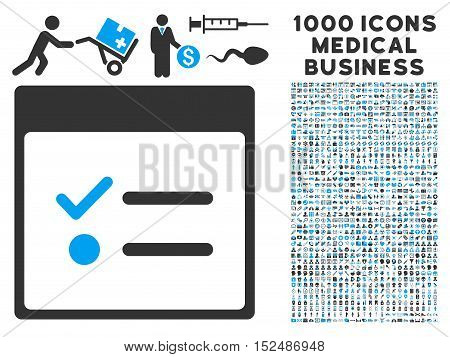 Blue And Gray Todo Items Calendar Page vector icon with 1000 medical business pictograms. Set style is flat bicolor symbols, blue and gray colors, white background.