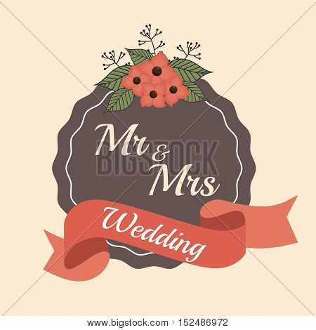 invitation wedding card ribbon and label design with red flowers, vector illustration  graphic