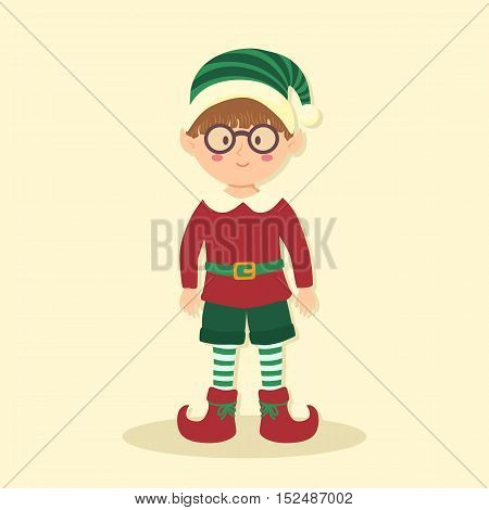 Vector illustration of Christmas greeting card with glasses elf boy on simple cream background.