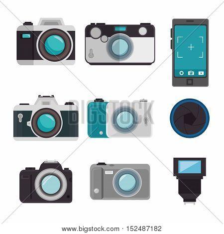 set photographic equipment design vector illustration graphic