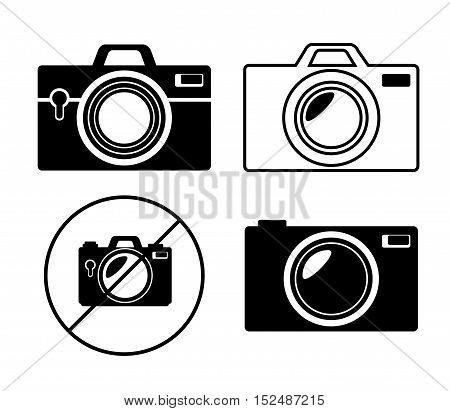 collection camera photo monochrome design, vector illustration graphic