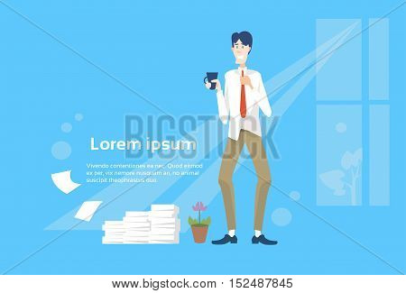 Business Man Office Interior Stacked Paper Document Paperwork Flat Vector Illustration