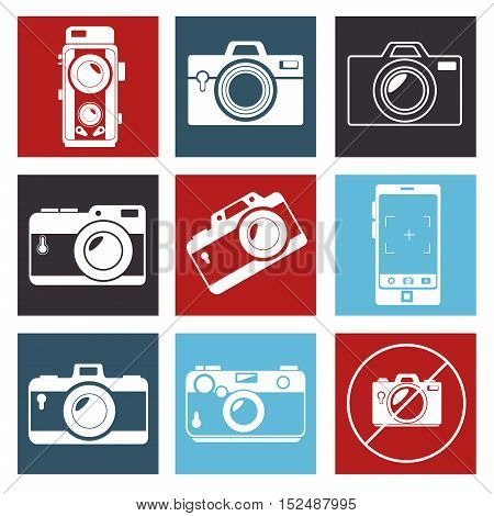 photographic camera mosaic design, vector illustration graphic