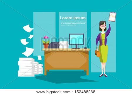 Businesswoman Secretary Hold Document Contract Business Office Interior Flat Vector Illustration