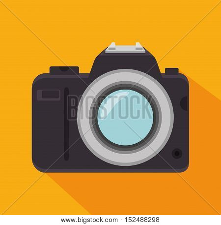 phtographic camera lens yellow background shadow design, vector illustration graphic