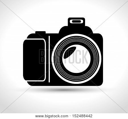professional photo camera with flash white background design, vector illustration graphic