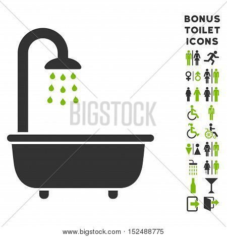 Bath Shower icon and bonus gentleman and woman lavatory symbols. Vector illustration style is flat iconic bicolor symbols, eco green and gray colors, white background.