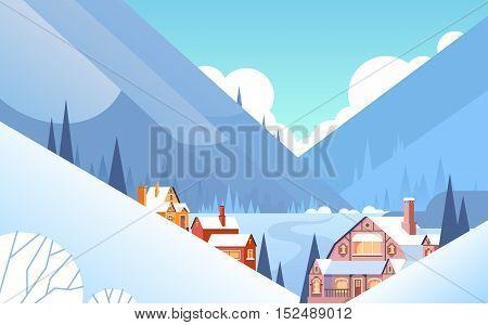 Winter Mountain Village Landscape Background, Snow Trees Forest Flat Vector Illustration