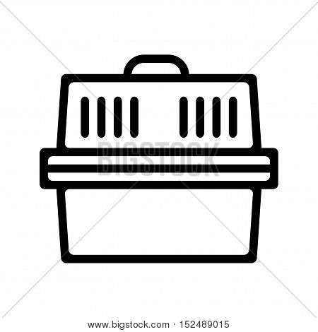 Pet carrier for cats and small dogs. Flat linear icon product for pets. Vector illustration