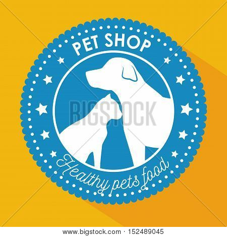 pet shop healthy food blue sticker with star vector illustration eps 10