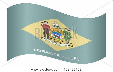 Delawarean official flag symbol. American patriotic element. USA banner. United States of America background. Flag of the US state of Delaware waving on white background vector