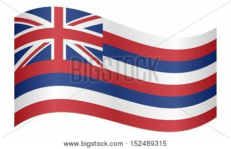 Hawaiian official flag symbol. American patriotic element. USA banner. United States of America background. Flag of the US state of Hawaii waving on white background vector