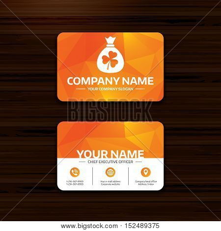 Business or visiting card template. Money bag with three leaves clover sign icon. Saint Patrick trefoil shamrock symbol. Phone, globe and pointer icons. Vector