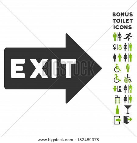 Exit Arrow icon and bonus gentleman and female restroom symbols. Vector illustration style is flat iconic bicolor symbols, eco green and gray colors, white background.