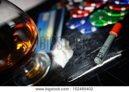 social problem of drug addiction table with the track of a strange powder and twisted bill