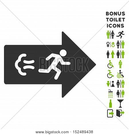 Exit Direction icon and bonus male and lady WC symbols. Vector illustration style is flat iconic bicolor symbols, eco green and gray colors, white background.