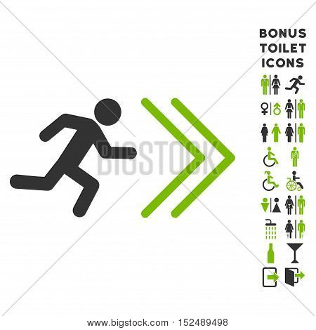 Exit Direction icon and bonus gentleman and woman toilet symbols. Vector illustration style is flat iconic bicolor symbols, eco green and gray colors, white background.