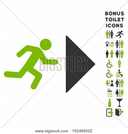 Exit Direction icon and bonus man and woman WC symbols. Vector illustration style is flat iconic bicolor symbols, eco green and gray colors, white background.