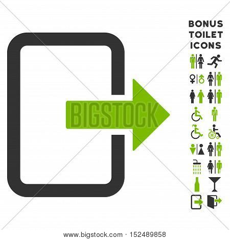 Exit Door icon and bonus male and female toilet symbols. Vector illustration style is flat iconic bicolor symbols, eco green and gray colors, white background.